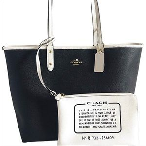 COACH REVERSIBLE CITY TOTE IN BLACK AND WHITE